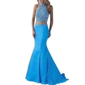 Splash by Landa Designs Halter Neck Beaded Gown